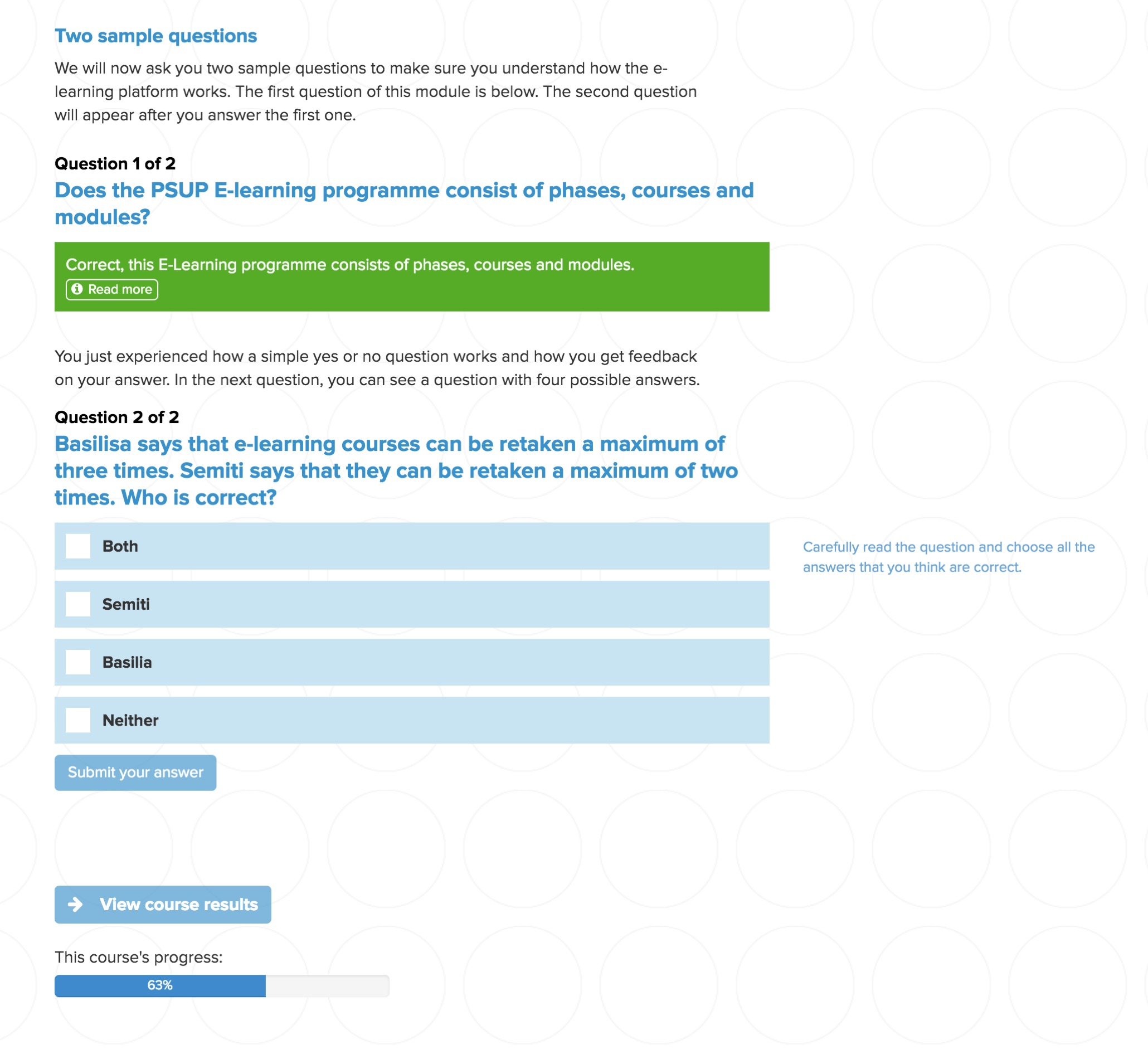 MyPSUP E-Learning question page.